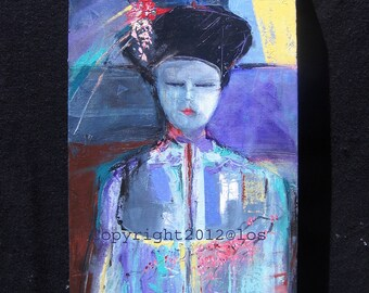 Geisha maiden with Kanzashi, acrylic painting, asian inspired painting, OOAK intuitive painting