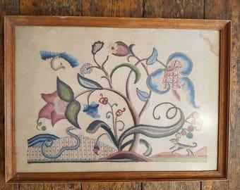 Antique Botanical Flower and Dog Embroidery Sampler in Wooden Frame