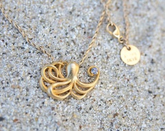 Octopus Pendant Necklace, 14k solid gold