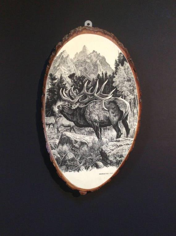 Super Sale! Decoupaged elk, seventies decor Elk decoupaged on slab of wood, retro decor, 1970's decor, man cave decor, great gift for him,