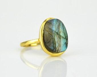 Rough Labradorite ring - blue labradorite gold ring, bezel set ring, statement ring, labradorite jewelry, raw stone ring, large oval ring