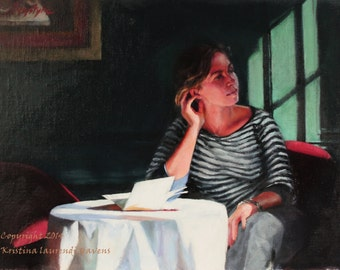 Original Art Painting Girl in an Italian Cafe Fine Art by Kristina Laurendi Havens