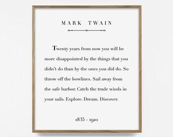 mark twain print, printable quote, inspirational quote print, printable words, adventure art, sail quote, nautical art, inspirational print