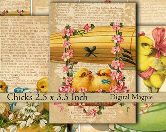 Easter chicks vintage images collage sheet instant download atc tags digital scrapbook paper 2.5 x 3.5