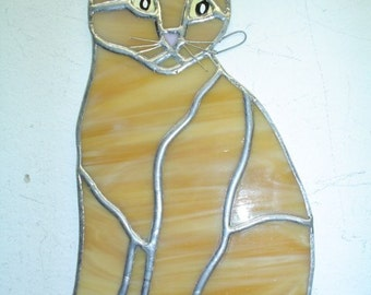 stained glass playful kitten