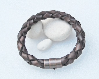 """Brown leather bracelet, 10mm, with antique copper colored magnetic clasp. You choose the braclet size from 7 to 9 inches around. #S-27. 8"""""""