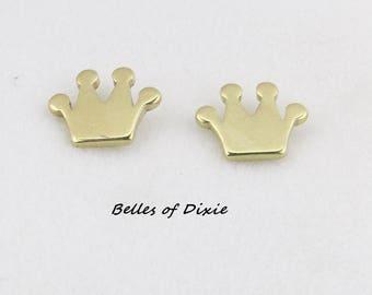 CROWN Stud Earrings ~ Princess Crown Post Earrings ~ Gold Crown Jewelry Earrings GOLD Princess Earrings Sorority Sister Gift