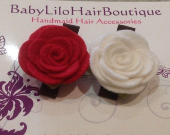 Baby Hair Clip, Baby Barrette, Flower Hair Clip, Girl Hair Clip, Toddler Hair Clip, Wool Felt Hair Clip, Flower Hair Clip -BL164