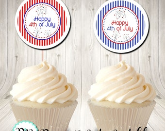 Happy 4th of July Red White and Blue Patriotic Cupcake Topper Circle Tag Digital Printable INSTANT DOWNLOAD