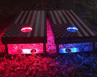 CORNHOLE LED Light set** red, white or blue! (2) led rings, (2) battery boxes, & (2) toggle switches. GREAT for playing at night!