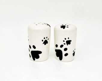 Salt and Pepper. Shakers. Salt. Pepper. Doggie Paw Salt and Pepper Shakers. Condiments. Handmade by Sara Hunter