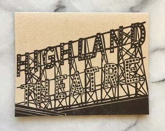 Highland Park Neighborhood Letterpress Greeting Cards, Set of 4