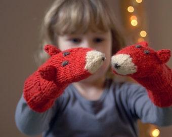 Fox mittens - Warm playful accessories for children - Children gift - Knitted fox gloves - Playful wool mittens in orange
