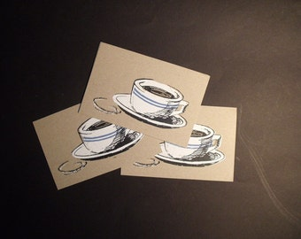 3 Coffee Cup Chipboard Postcards