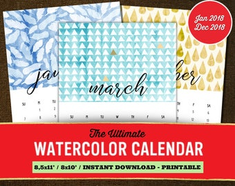 Watercolor Calendar 2018, Monthly Calendar 2018, Monthly Calendar Printable, Monthly Calendar Template, Watercolor Monthly Calendar