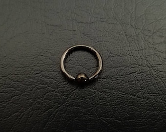 "20g 18g 16g 1/4"" (6mm) Black Captive Ring Nose Septum Cartilage Helix Ring Tiny Captive Ring"