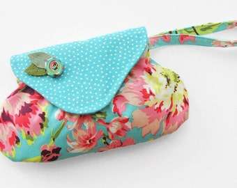 Floral Wristlet with Flap / Amy Butler Fabric