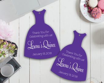 Dress shaped Thank You tags (Set of 12)   Bridal Shower   White Print   Black & White Tag   Quinceanera Thank You   Favor Tag   Sweet 16 Tag