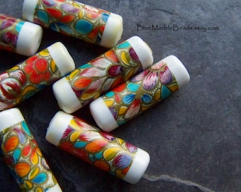 Vintage Beads, Tube Beads, Floral Beads, Decal Beads, West German, Unique Beads, Stained Glass Beads, Rare Beads, Imperfects, 10 Beads