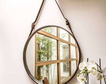 """PREORDER NOBI TWO 24"""" Strapped Mirror Adnet Jamie Young Style Captain's Mirror Hanging Bddw Gobi Round leather hanging bathroom entry mirror"""