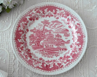 Wood & Sons dish pink red white SEAFORTH transfer ware/Enoch Eisenstein porcelain plate from Burslem England
