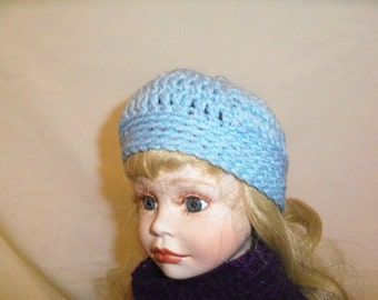 18 inch Doll Hat, Light Blue Doll Hat, Fits American Girl Doll Clothes, Doll Accessories Crochet 18 Inch Doll Hat
