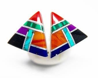 Intarsia Multi Gemstone . 10mm Triangle . Sterling Silver Posts Studs Earrings . Minimalist Rainbow Posts . Free Shipping . E17018