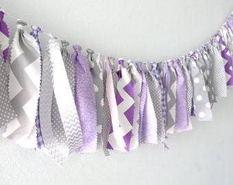 Purple birthday decorations, Baby Shower, First Birthday, nursery decor, high chair banner, Tassel garland, rag tie, grey, smash cake props