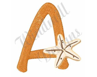 Seashell Font Letter A - Machine Embroidery Design