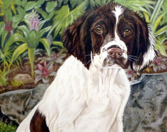 """Custom Pet Portrait 16""""x20"""", 1 pet, Oil on Gessobord from your photo by Cynthia Brassfield"""