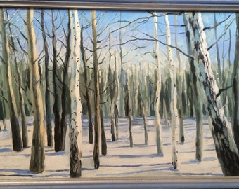 Original oil painting .winter woods . Burch trees. Snow. Russian winter forest . Oil on canvas .