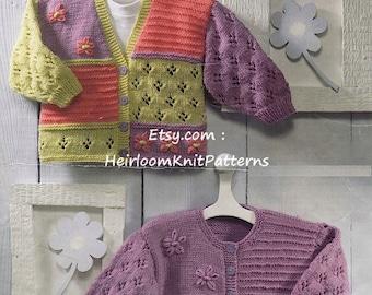 Baby Children's Girls Cardigans Knitting Pattern PDF 16-26'' 0-6 years Girls Patchwork Cardigan Pattern Instant Download PDF - 421