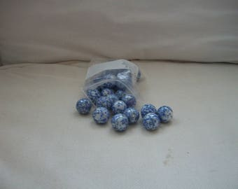Vintage Toy Cobalt Blue And White Glass Marbles