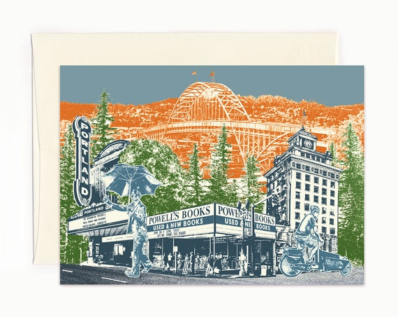 Touring Downtown Notecard - Portland, Oregon - full color - folded Greeting Card - Single Card or Set of 6