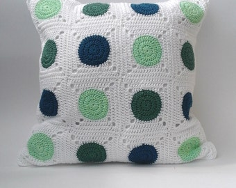 Crochet pillow cover, polka dot pillow case, granny squares cushion, MADE TO ORDER