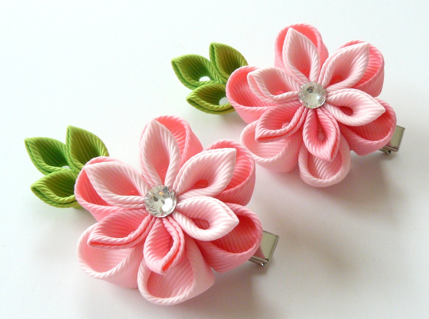 Kanzashi Fabric Flowers Set Of 2 Hair Clips Shades Of Pink