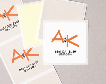 "wedding Best Day Ever label stickers geometric modern minimalist personalized square 20 medium 2"" wedding announcement envelope seals"