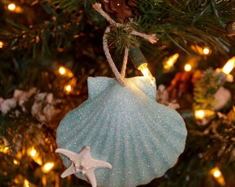 Christmas Ornament- Turquoise Shell with Swarovski Crystal