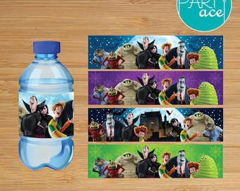 Hotel Transylvania Water Bottle Labels Printable Dracula Halloween Birthday Party Decoration