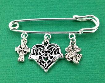 Silver Irish Brooch, Irish Kilt Pin, Mother's Day Gift, Irish Jewelry, Irish Gift for Her