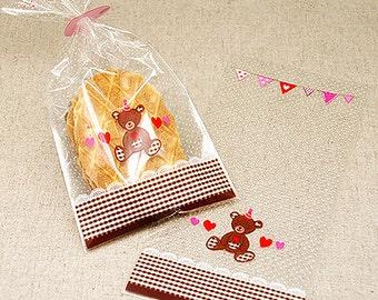 20 Brown Teddy Bear Cellophane Bags (4.3 x 9in)