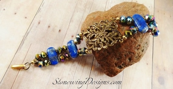 Lapis Stone Bracelet with Brass Filigree