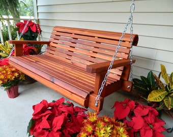 Cedar Porch Swing, Heavy Duty Southern Style Porch Swing, Handmade 4ft-5ft- 6ft Stained Swing,Free Shipping