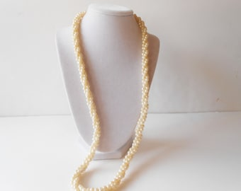 Pearl Necklace, Vintage Pearls, Vintage Necklace, Twisted Rope,Costume Jewelry, Opera Length Pearls, Elegant Necklace