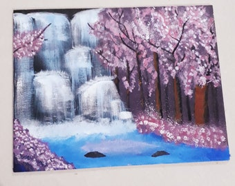 Cherry blossom waterfall painting