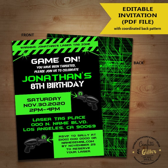 Laser Tag Birthday party invitation game on laser tag invite