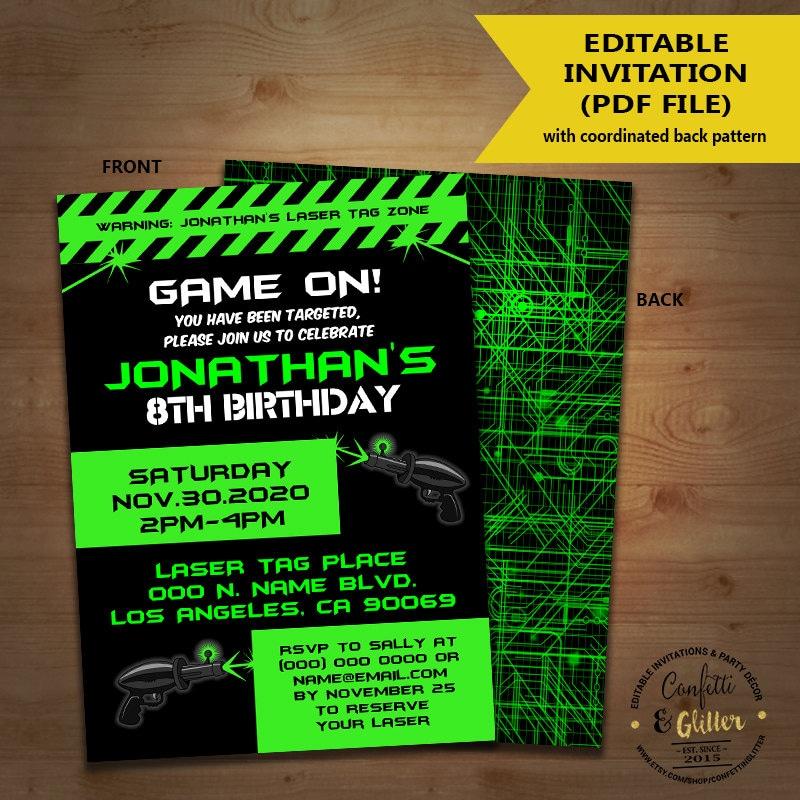 Laser Tag Birthday party invitation game on laser tag invite