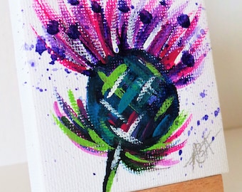 Tiny thistle art on canvas, miniature canvas with easel, hand painted mini, Scottish Thistle, Scottish Art, Original mini art, Scottish art