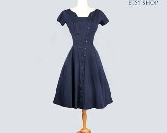 1950's Blue Gigi Young Designer Vintage Dress - Fit & Flare Style, Mid Century, Full Skirt, SIZE:  Medium