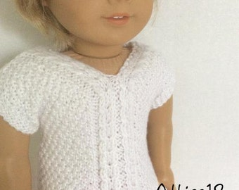 Jessie-- Short Sleeve Cable Sweater Pattern for American Girl -PDF